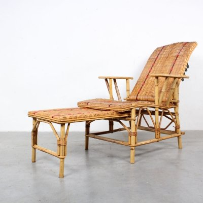 Rattan French adjustable lounge chair