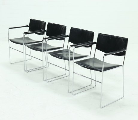 Set of 4 Minimalist Leather & chrome Dining Chairs, 1970s