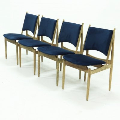 Set of 4 Egyptian Dining Chairs by Finn Juhl for Niels Vodder, 1940s