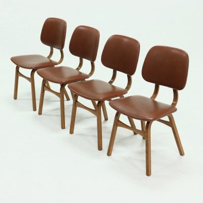 Set of 4 Vintage bentwood Dining Chairs, 1960s