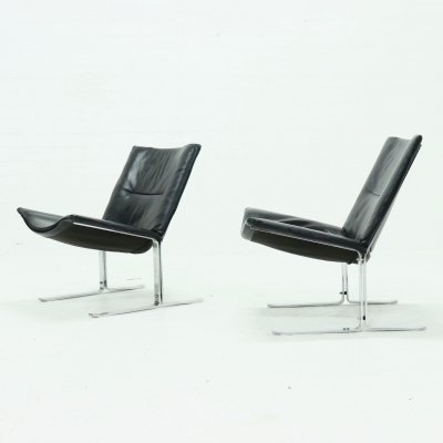 Set of 2 Leather & Chrome Lounge Chairs, 1970s