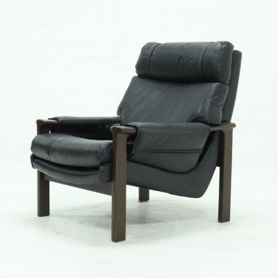 Vintage Lounge Chair in Black Leather, 1970s