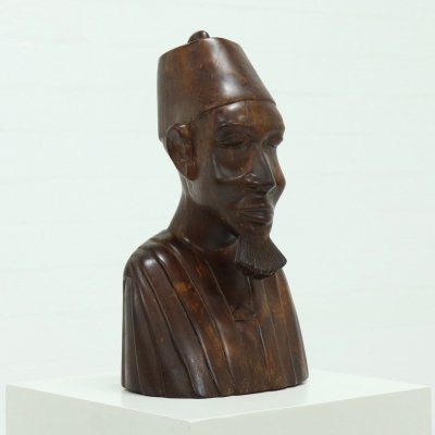 Large Mahogany Wooden Buste of African Man, 1950s