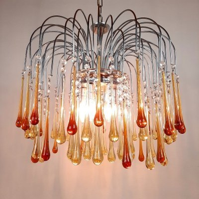 Vintage Yellow Caramel Murano Glass Drops Chandelier by Paolo Venini, Italy 60s