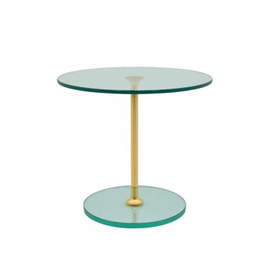 Round Glass & Brass Side Table, 1970s