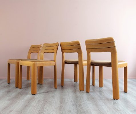 Set of 4 Elegant Beech Dining Chairs, 1970's