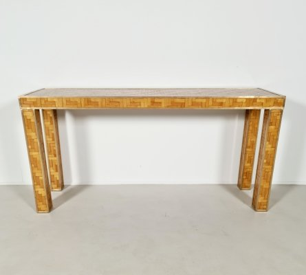 Vintage woven rattan console table with brass details, 1970s