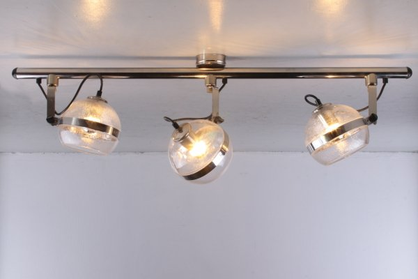 Ceiling lamp with three spots in chrome & glass, 1960s