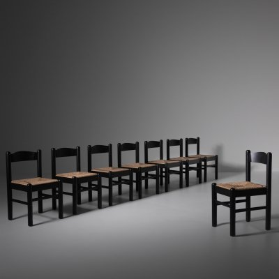 Set of 8 Stained Oak & Rush dining chairs, 1970s