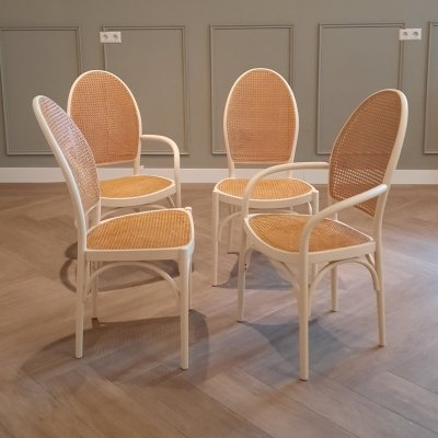 Set of 4 white bentwood Thonet dining chairs, 1970s