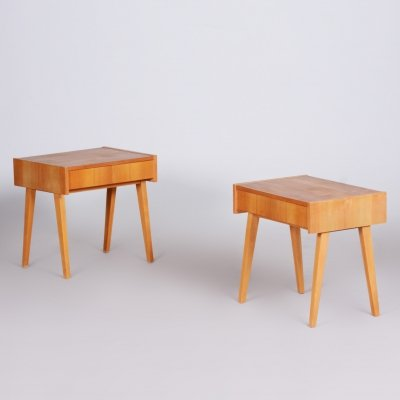 Pair of ash brown Midcentury Modern Bedside tables, Czechia 1950s