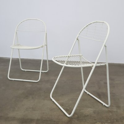 Niels Gammelgaard white wire folding chairs, 1980s