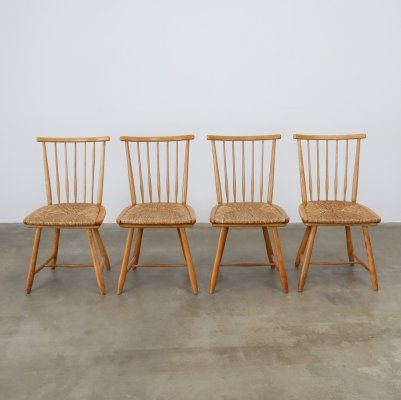 Set of 4 Oak & rope dining chairs by Arno Lambrecht for WK