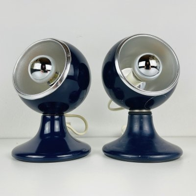 Pair of blue table or wall lamps by Luci Illuminazione di Interni, Italy 1970s