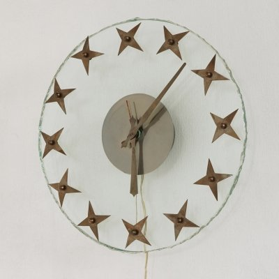 Clock in glass with stars, 1940s