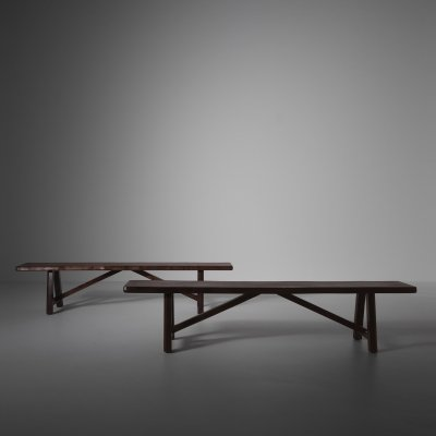 Primitive Benches in stained Elm, 1960s