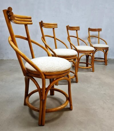 Set of 4 Vintage midcentury design bamboo dining chairs, 1950s
