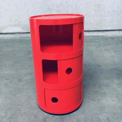 Original Red 3 Tier Componibili Storage by Anna Castelli for Kartell, Italy 1970