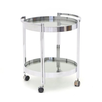 Round trolley in chromed steel with glass shelves, 1970s