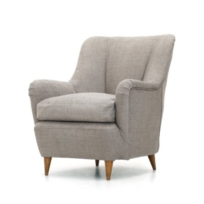 Armchair in gray fabric, 1950s