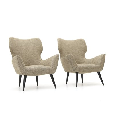 Pair of armchairs with conical feet, 1950s