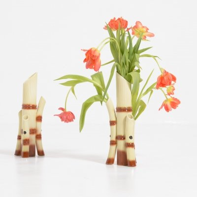 Pair of Mid-Century Faux Bamboo Vases, 1950s