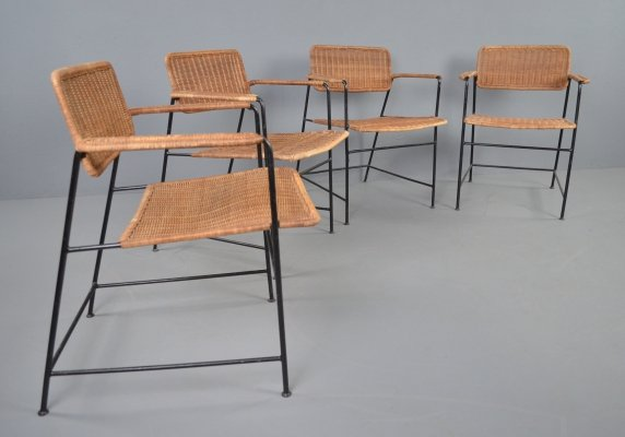 Set of 4 wicker & steel frame dining chairs, 1960s