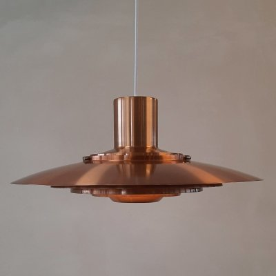Rose copper P376 hanging lamp by Kastholm & Fabricius for Nordisk Solar, 1960s