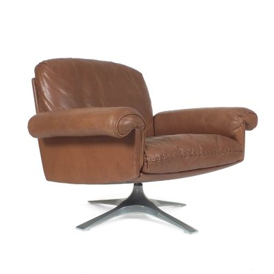 Tan colored leather DS31 armchair by De Sede, 1970s