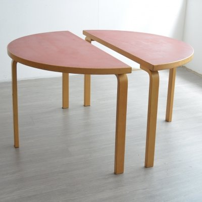 Pair of Half Round Red Tables by Alvar Aalto, 1980s