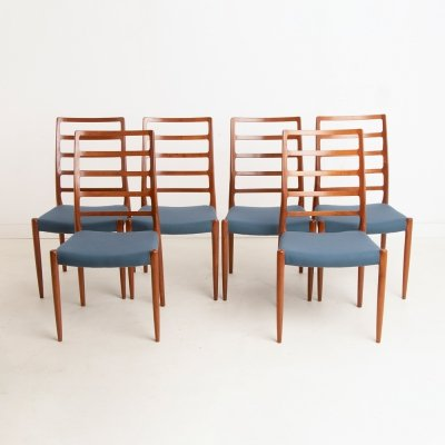 Set of 6 Midcentury Model 83 Dining Chairs by Niels Moller