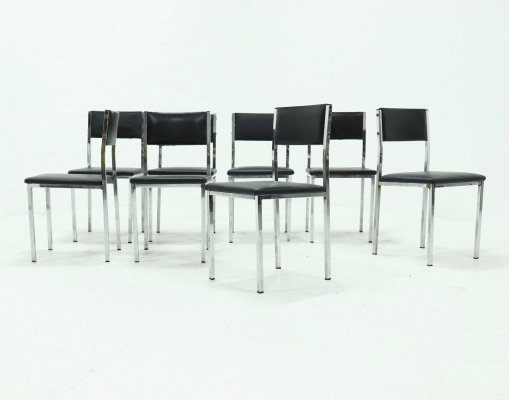 Set of 162 Chromed Steel Dining Chairs, 1970s