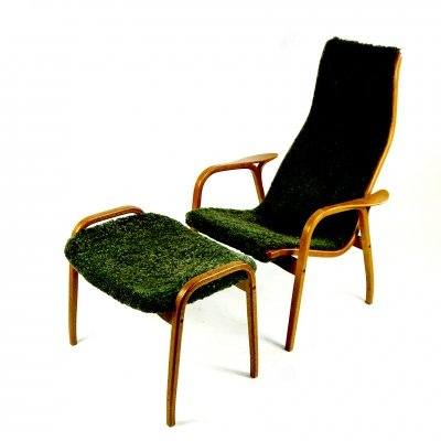 Green Sheepskin Lamino Chair with Stool by Yngve Ekstrom for Swedese