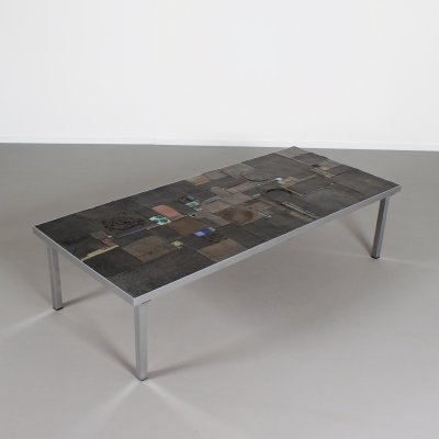 Impressive Brutalist Coffee Table by Pia Manu for Amphora, 1960s