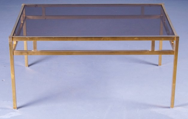 Gold anodized aluminum coffee table with smoked glass top, 1980s