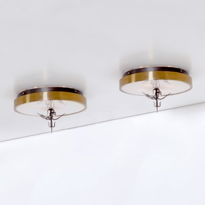 Pair of Large Exclusive Ceiling Lamps, 1970s