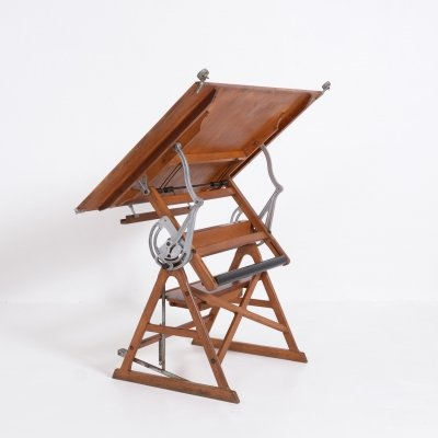Industrial Wooden Drafting Table by Linear