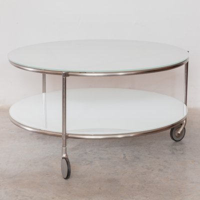 Round White Glass & Chrome Coffee table by Zanotta, Italy 1980s