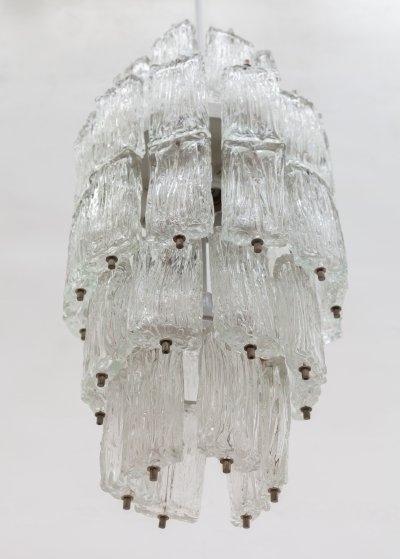 Venini Large Chandelier with Five Iced Textured Clear Glass Tiers, Murano Italy 1960s