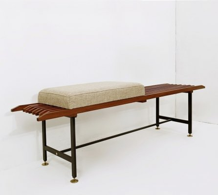 Slatted Bench in Wood, Metal & Brass, Italy 1970s