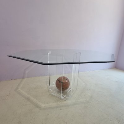 Unique Lucite dining table with octagonal glass top & pink marble sphere