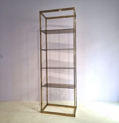 Brass Etagere with Smoked Glass Shelves