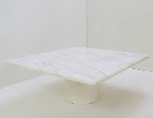 Square white marble coffee table, 1970s