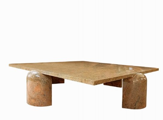 Square coffee table in brown / red granite, 1980s