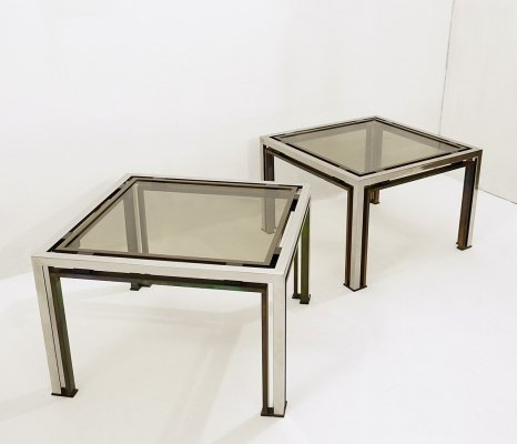 Roméo Rega pair of Living room tables with Smoked glass top, 1970s