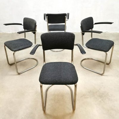 Vintage Dutch design 'Model 208' dining chairs by Gispen