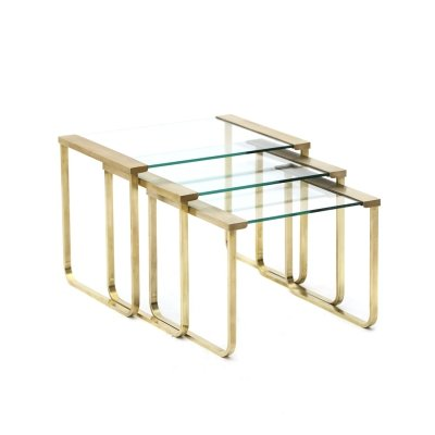 Three nesting tables in brass & glass, 1970s