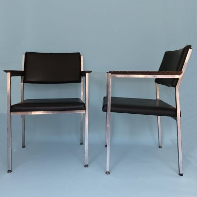 Pair of Metal Alloy Armchairs In Wenge And Skai, 1970s