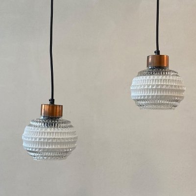 Pair of glass hanging lamps, Denmark 1960s