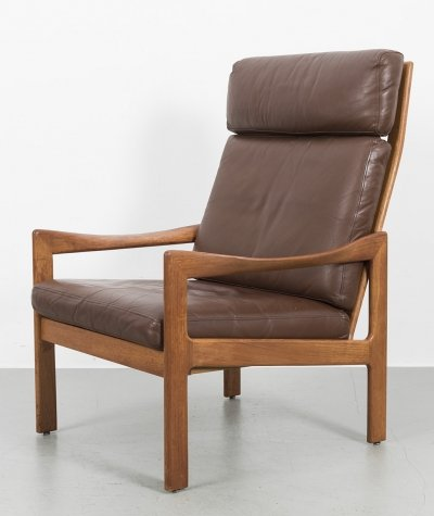 Highback lounge chair by Illum Wikkelsø for Niels Eilersen in brown leather